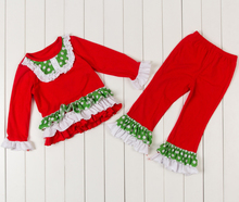 Baby Girls Christmas outfit,Girls Holiday outfit clothes,toddler christmas sets,Girls Autumn winter ruffled clothing suits