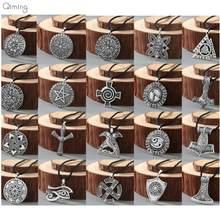 Collier Viking Rune pour hommes et femmes, pendentif avec boussole et marteau du zodiaque, amulette Vintage, à la mode