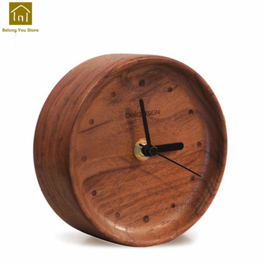 Réveil en bois créatif décor à la maison Snooze Vintage bureau enfants horloges Table en bois chevet réveil électronique WKJ027