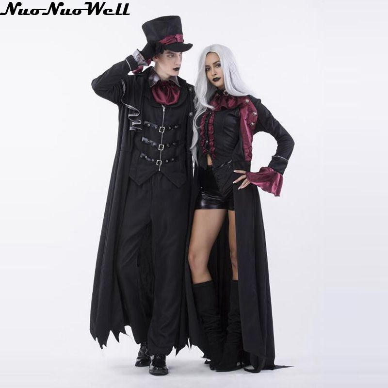 Men and Women Vampire Count Cosplay Halloween Costumes Aristocratic Dress masked ball Carnival Masquerade Nightclub Dance Suit