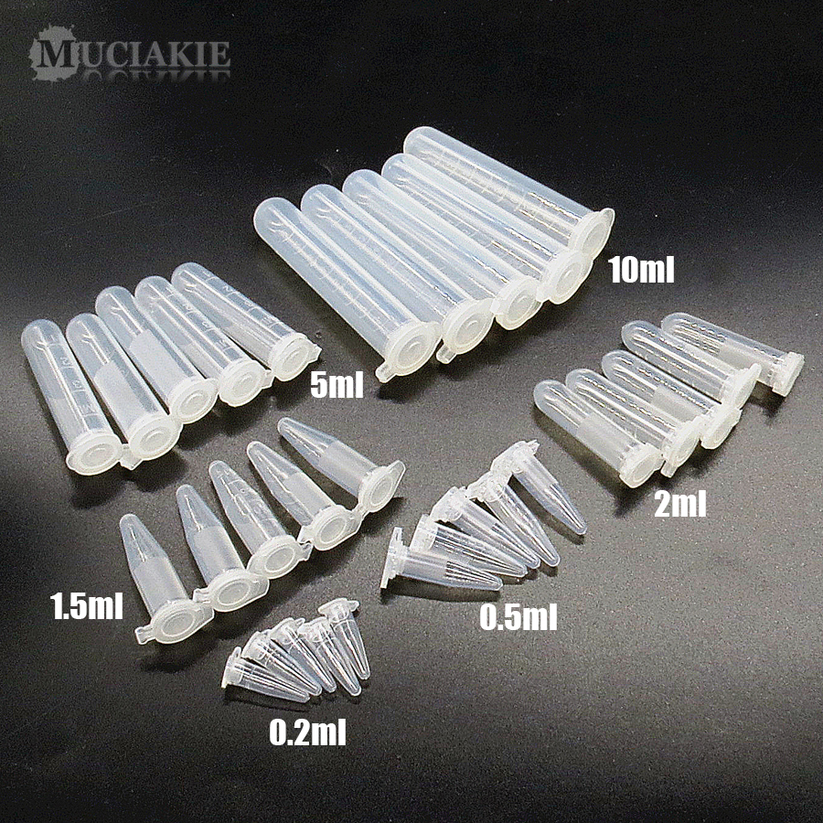 MUCIAKIE 0.2ml 0.5ml 1.5ml 2ml 5ml 10ml Nursery Trays PP Centrifuge Tube With Cover Bottle For Saving Seeds Good Quality