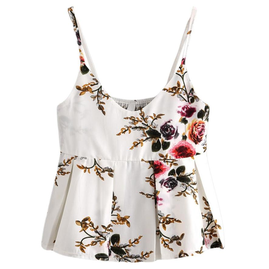 FEITONG Fashion Floral Printed Tank Tops Women Strap Camisole Sleeveless T-Shirt Casual V-Neck Top Blusa Tee Summer Croped 0120