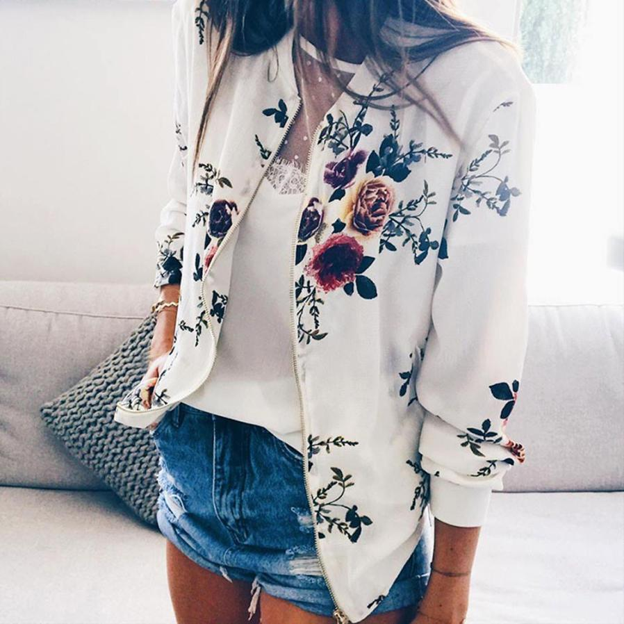Outerwear & Coats Jackets Womens Ladies Retro Floral Zipper Up Bomber Outwear Casual coats and jackets women 18AUG10 14