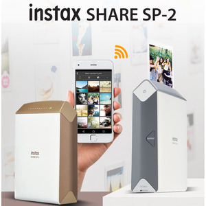 Fujifilm INSTAX Share SP-2 Smart Phone Printer (Silver/Golden), Fujifilm Instax Mini Twin Pack Instant Film and Case Available
