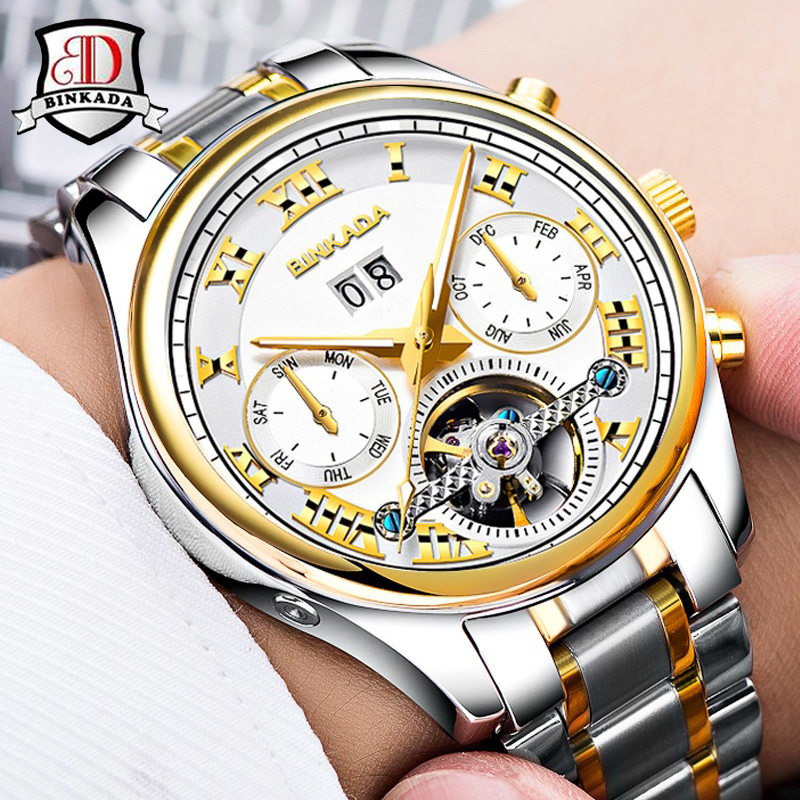 2017 Watches Men Luxury Top Brand BINKADA Mechanical Watch Fashion Business Sapphire Sport Casual Wristwatch relogio masculino