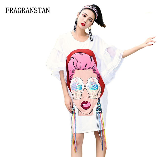 Fashion Women Spring Summer New Cotton Loose Half Butterfly Sleeve Dress  Female Casual Character Sequins Print Cute Dress JQ144 93317d1b9c98