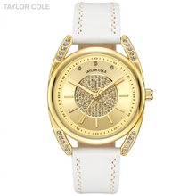 Lujo marca Taylor Cole Relojes de cuarzo oro caso elegante blanco Cuero  auténtico Correa hodinky mujeres causal vestido reloj tc. ab0e69201342