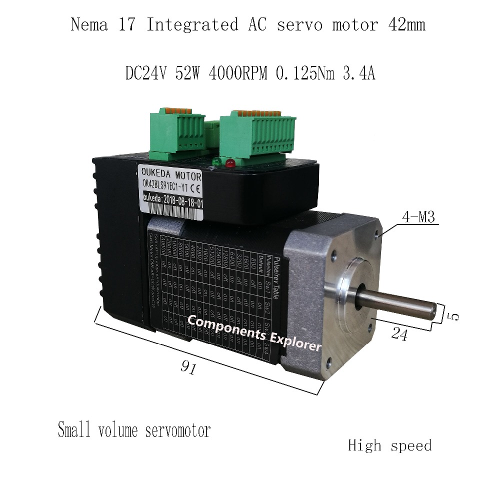 52W 4000rpm NEMA17 0.125Nm 42 AC integrated servo motor Small volume servo motor 42BLS91EC1-YT52W 4000rpm NEMA17 0.125Nm 42 AC integrated servo motor Small volume servo motor 42BLS91EC1-YT