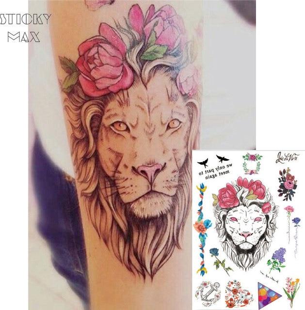 W03 1 pezzo fiore corona leone su braccio tatuaggio temporaneo con lavanda palloncino triangolo - Tattoo tete de lion ...
