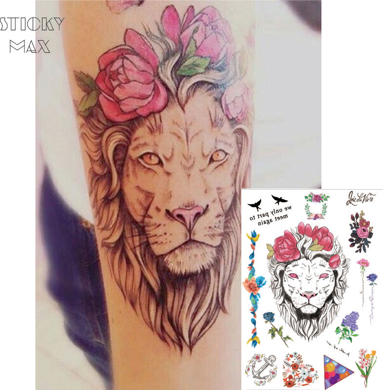fb81b5efe122d W03 1 PIECE Flower Crown Lion on Arm Temporary Tattoo with Lavender,Balloon  Triangle,Daisy Wreath Pattern Body Art