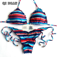 QI DIAN Bikini 2018 Swimwear Women Swimsuit Push Up Sexy Stripe Print Brazilian Bikini Set Beach Bandage Bathing Suit Biquinis