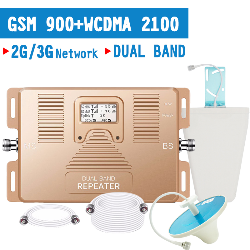 2G GSM 900 3G WCDMA 2100 Cell Phone Signal Repeater 70dB Gain GSM 900 WCDMA 2100 Amplifier Cellular Signal Booster LCD Display