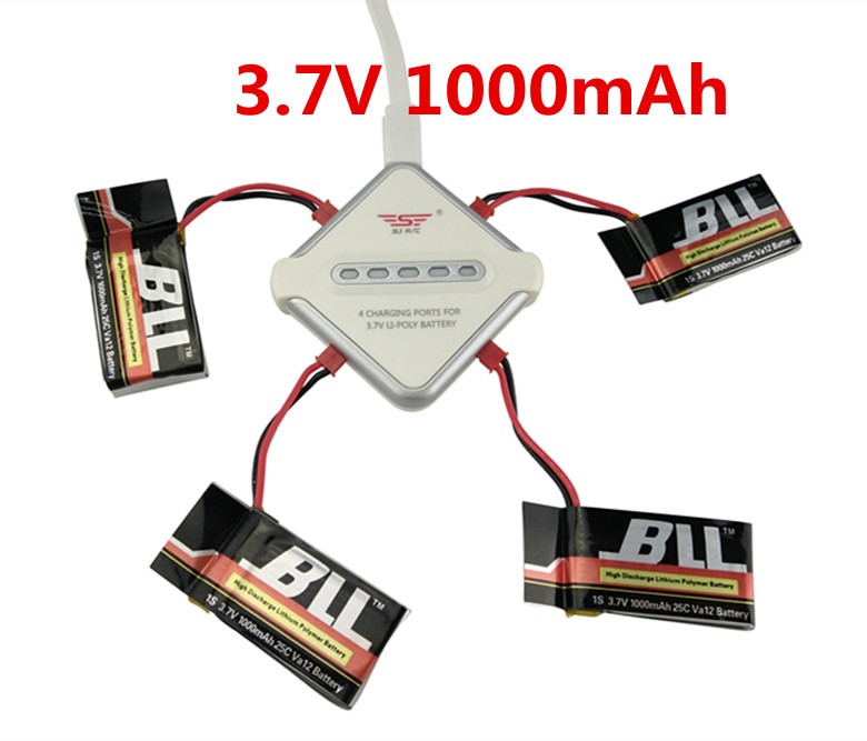 BLLRC MJX X400 X800 X300C FY550 HM1315 HJ819 <font><b>3.7V</b></font> <font><b>1000mAh</b></font> <font><b>Battery</b></font> & 4 In 1 JST Charging Cable Parts for MJX RC Drone image