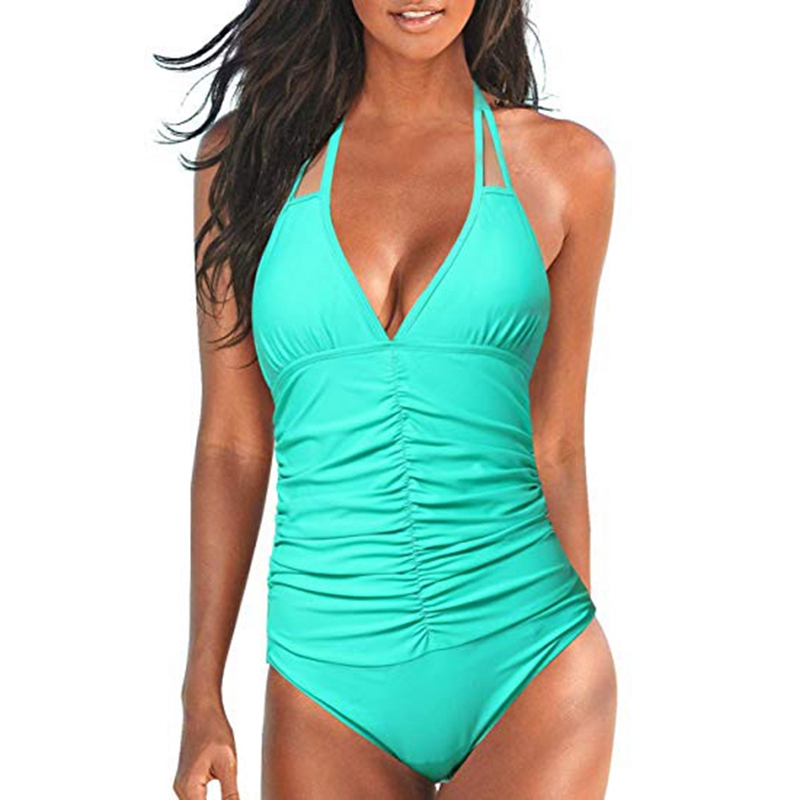 Tengweng 2019 Sexy Female Retro V Neck Blue halter Swimsuit One Piece backless Push Up Padded High Waist Swimwear Women Monokini in Body Suits from Sports Entertainment