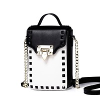 New 2016 Women S Studded Cowhide Leather Chain Vertical Small Shoulder Bag Cross Body Phone Purse