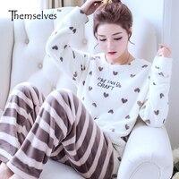 Winter Women Pajama Sets Warm Pajamas Sleepwear Flannel Pajamas For Women
