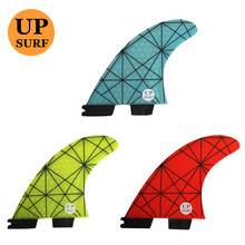 Surf Fin G5/G7 FCS2 Fins Light Blue/yellow/red FCS II  Fiberglass new design