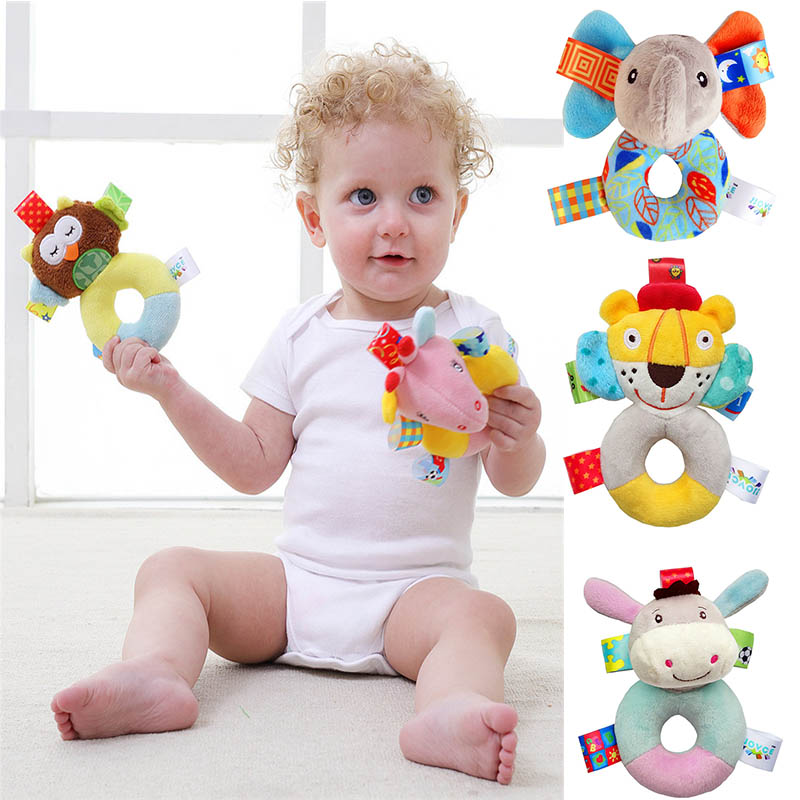 Baby Toys Plush Infant Development Soft Animal Handbells Rattles Handle Toys Interactive Newborn Gift Toys For Baby 0-24 Month