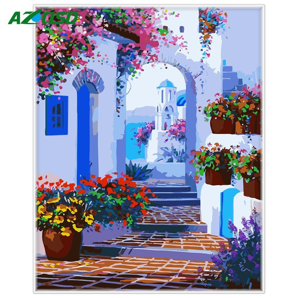 AZQSD Courtyard DIY Painting By Numbers Modern Home Wall Art Picture Hand Painted Oil Painting For Room Artwork 40*50