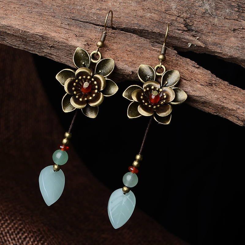 Antique earrings with stone Flower Ethnic Drop Earrings for women Plant dangling earrings fashion jewelry 2018 New Arrival a suit of ethnic rhinestoned flower necklace and earrings for women