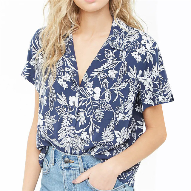53c42f431a31 Blouse Women 2019 Summer Short Sleeve Chiffon Blouses Floral Striped Turn  Down Office Ladies Shirts Casual Tops Plus Size Blusas-in Blouses & Shirts  from ...