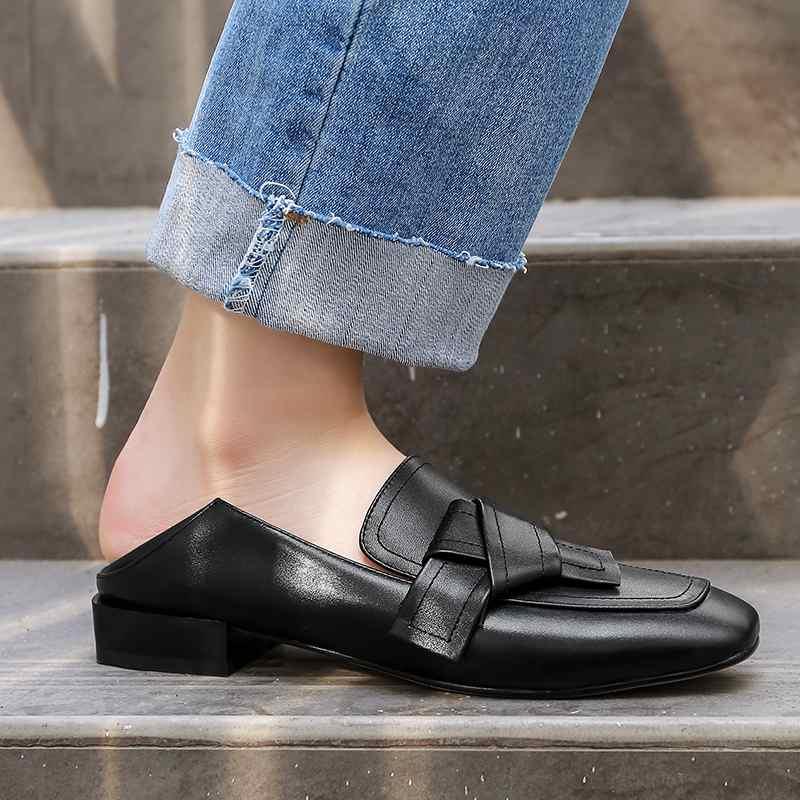 Krazing 냄비 높은 패션 정품 가죽 슬립 펌프 여성 광장 발가락 영국 학교 큰 크기 43 42 41 bowtie 브랜드 신발 l52-에서여성용 펌프부터 신발 의  그룹 2