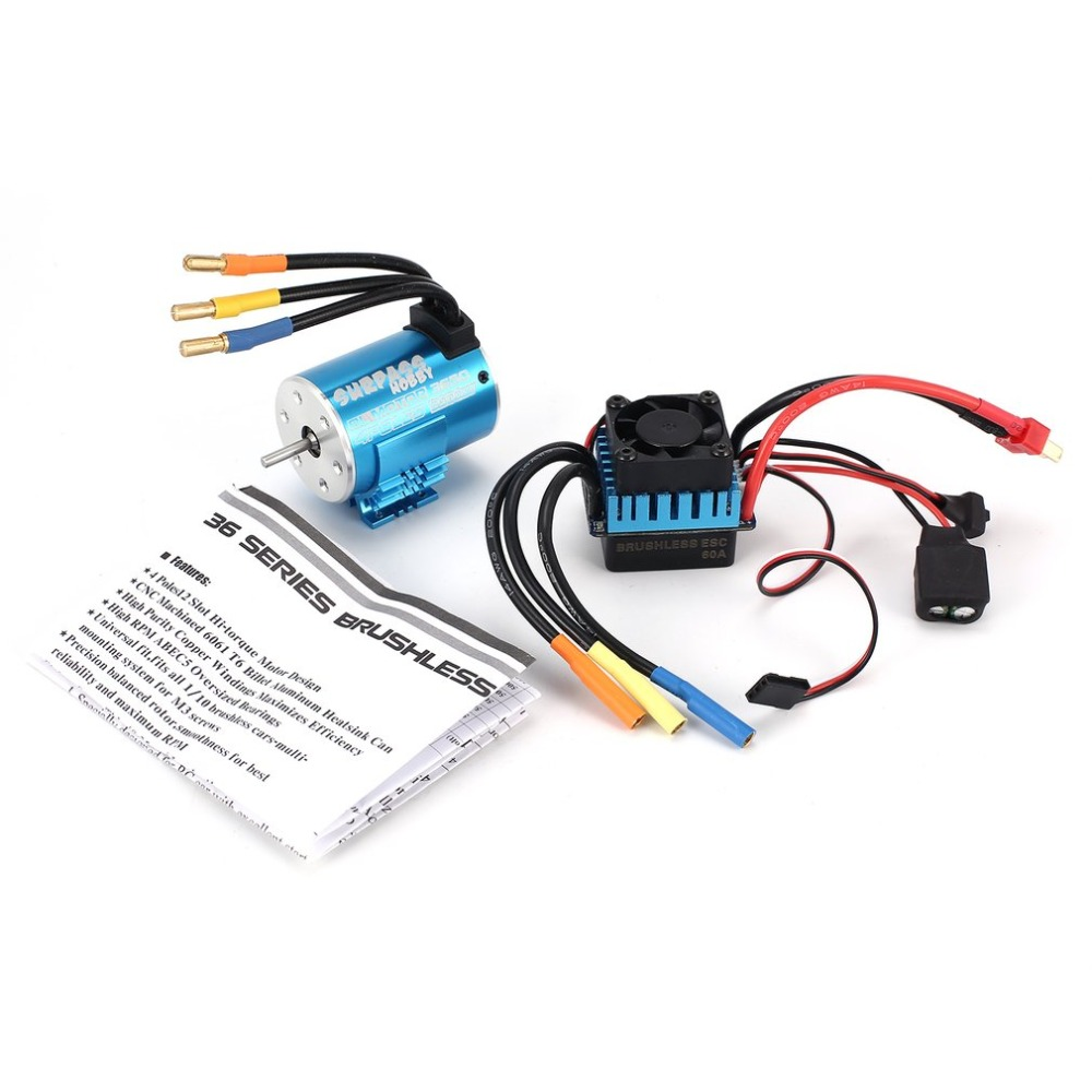 SURPASSHOBBY 3650 3900KV/4P Brushless Motor with Heat Sink 60A Brushless ESC Combo Set for 1/10 RC Cars Spar Parts Accessories