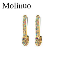 Molinuo rainbow cz safety pin earring 2019 new design jewelry for women lady gift Gold filled colorful multi piercing