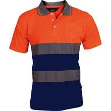Twee Tone Veiligheid Shirt Reflecterende Hi Vis Shirt Met Reflecterende Strepen Werkkleding