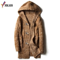 HOT Autumn Winter Loose Long Mens Cardigans Sweaters New Fashion Jumpers Mens Hooded Sueter Knit Sweater Jersey Sudaderas Plus