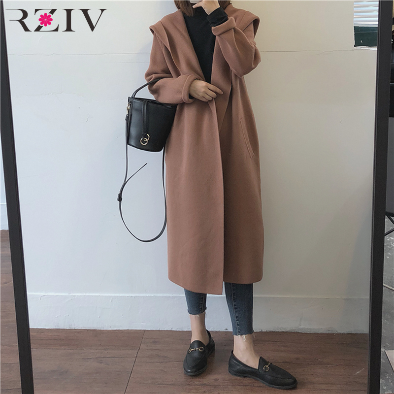 RZIV autumn and winter women s long sweater casual solid color loose hooded cardigan sweater