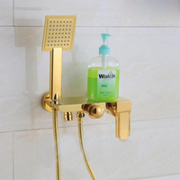 Wall Mounted Chrome Brass Gold Plate Bathroom Shower Faucet Set Bath Faucet Mixer Tap With W/ ABS Hand Shower Head Shower