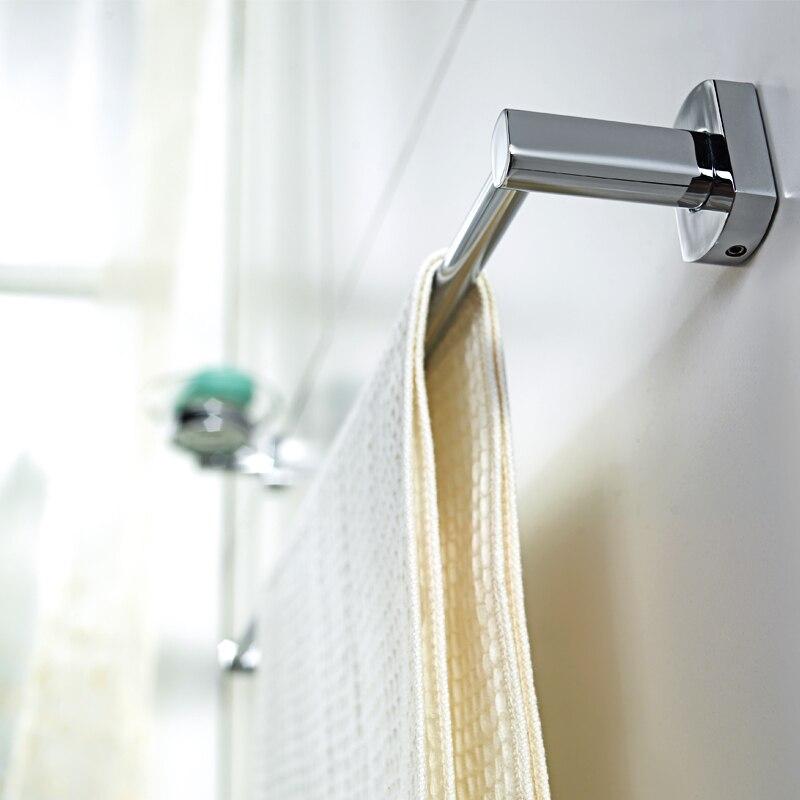 ФОТО JOMOO High Quality Wall Mounted Brass Towel Bar Bathroom Single Towel Holder 624mm Length Chrome Bathroom Accessories Towel Rack