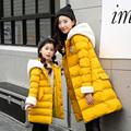 Single Breasted Hooded Cotton Padded Long Down Jacket Coat Parkas Winter Coat Women 2017 Children Coats Mother and Child Coats