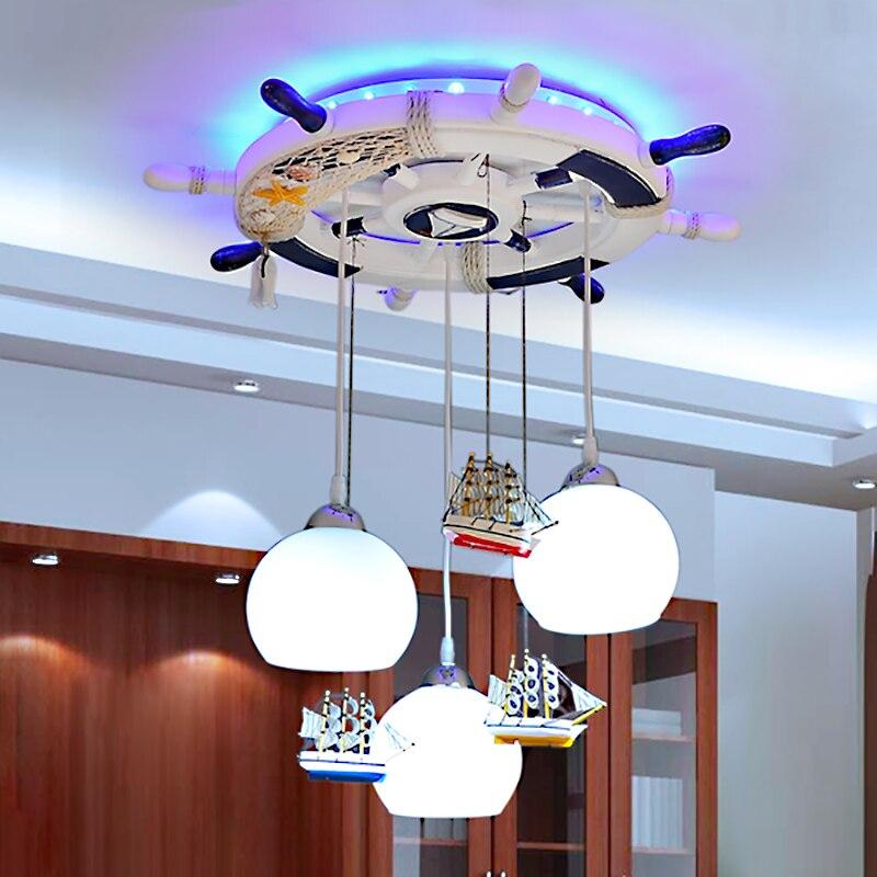 Enfants pendentif lumières salon restaurant garçon fille rocheux mer bateau gouvernail personnalité mignon 3 têtes pendentif lampes ET15