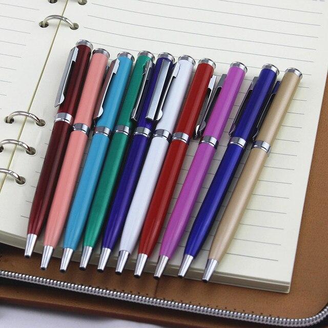 full metal ballpoint pen Rotary metal ball pen For Business Writing Office School Supplies black ink Refill Gifts pen 3