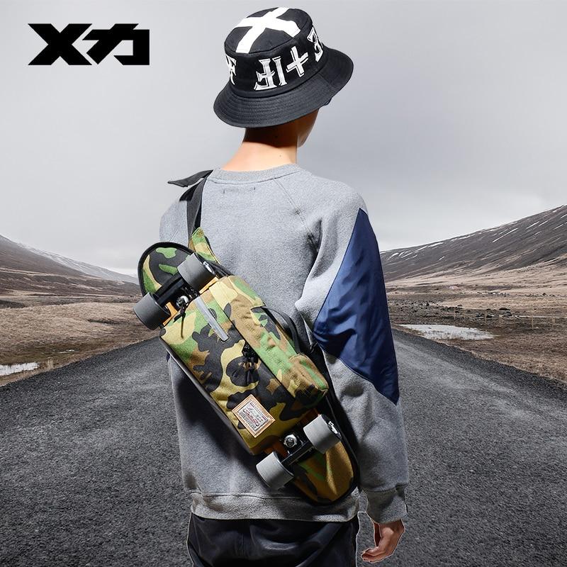 MACKAR 28x10x18cm Single-shoulder Chest Pack Skateboard Bag 1000D Small Cruiser Carrying Bags Men Street Waist Bag