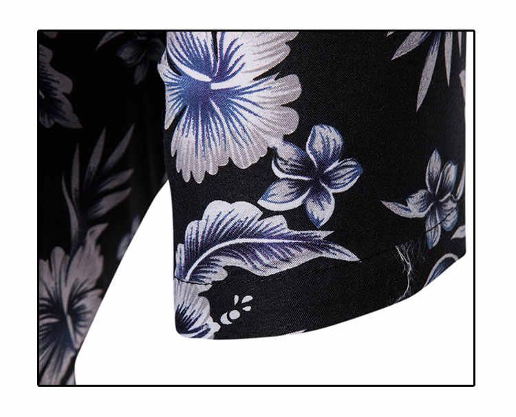 Черная Гавайская пляжная рубашка с коротким рукавом для мужчин 2019 Летняя мода цветочный принт тропическая Мужская рубашка навыпуск с ярким рисунком вечерние праздничные Chemise Homme