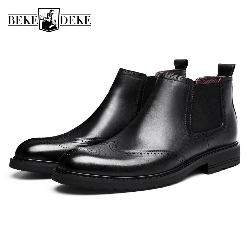 European High end Male Shorts Fashion Chelsea Boots Trend Round Toe Genuine Leather Mens Slip On Ankle Boots Wing Tip Black