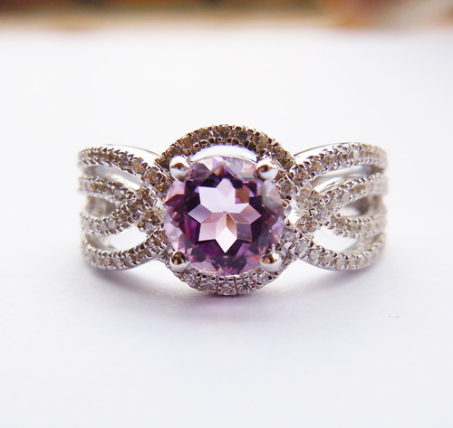 Anthentic AmethystSterling Silver Engagement Ring