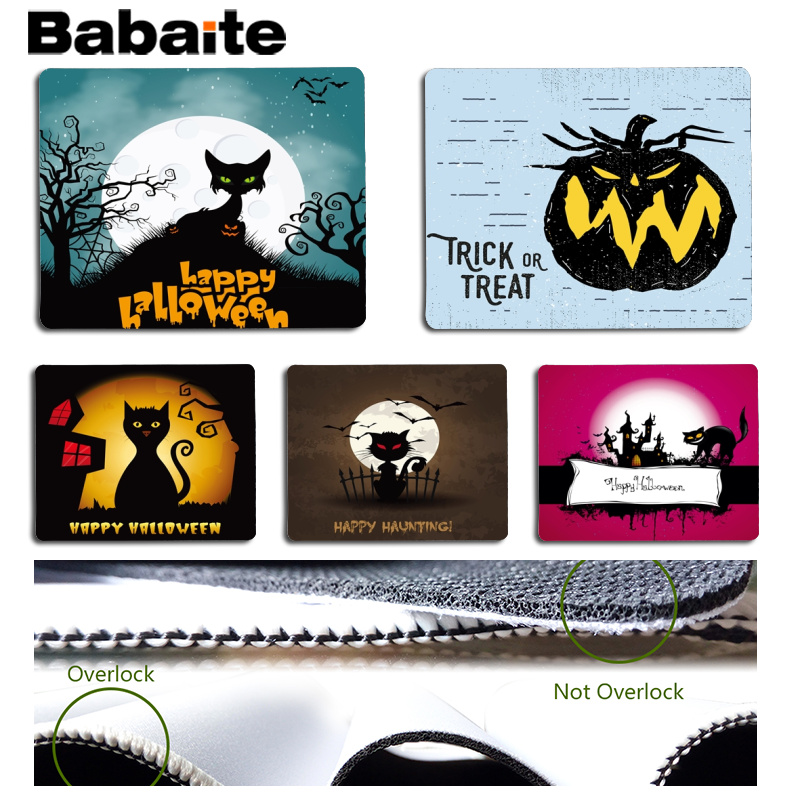 Energetic Babaite Hot Sales All Saints Day Trick Or Treat Hallowmas Black Computer Gaming Mousemats Size For 18x22cm Rubber Mousemats Beautiful And Charming
