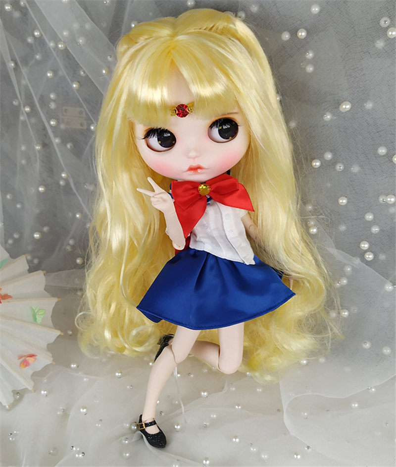 Free Shipping 30CM 12inches Factory Blyth Doll Golden Long Hair White Skin 1 6 Joint Body