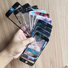 Starry Sky  Milky Way Curve Edge Color Fiber Tempered Glass Film For iPhone 6 6s 7 8 Plus Screen Protector Full Cover