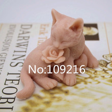 New Product!!1pcs 3D Lovely Rose Cat (zx205) Food Grade Silicone Handmade Soap Mold Crafts DIY Mould