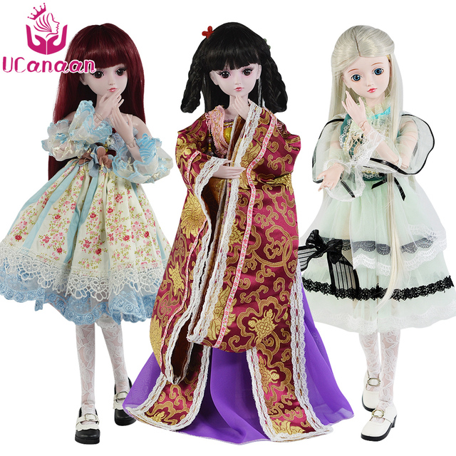 UCanaan 1/3 BJD Doll Accessories bjd Clothes Blue Bow Dress Chinese Style Clothes Set Cute Girls Mini Clothing For 60cm Dolls 2