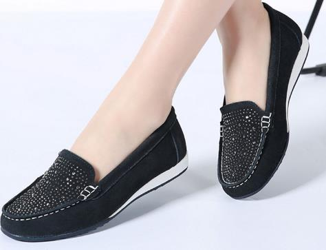 2019 Spring women ballet flats shoes   leather     suede   slip on loafers shoes women flat shoes.