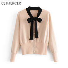 Women Slim V Neck Knitted Cardigan Long Sleeve Cropped Sweaters Ladies Harajuku Bow  for Short Cardigans