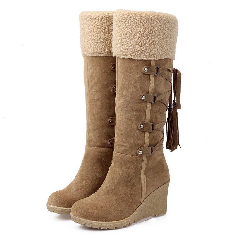 Fashion Womens Suede Wedge Heels Fur Top Tassel Warm Winter Knee High Snow Boots