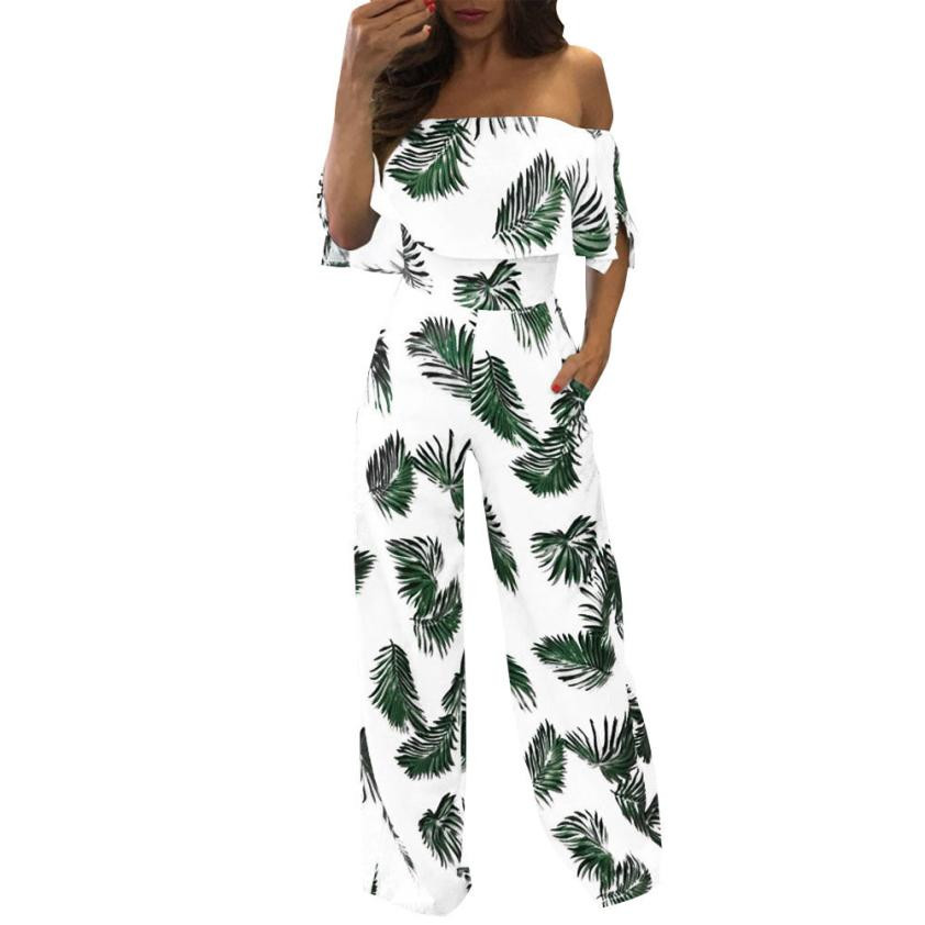 Feitong Women Floral Leaves Printed Jumpsuit Casual Off Shoulder Strapless Ruffle Playsuits Sparkly Capelet Loose Summer Rompers