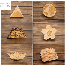 Sasusp Wood Boat World Map Flower Mountain Hamburger Brooch Pins Natural Scenery Brooches Jewelry for Women Men and Kids